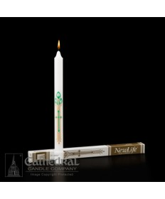 RCIA Candle New Life with Cross Decal 11-3/4""