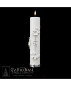 Holy Matrimony Unity Candle - Silver / White