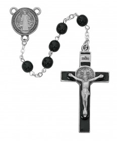 7mm Black Saint Benedict Rosary