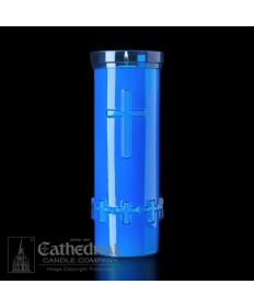 6 Day Candles in Blue Unbreakable Plastic Containers