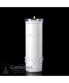 7 Day Candles with Cross in Unbreakable Plastic Containers