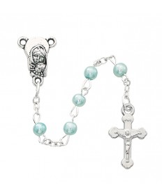 4 mm Imitation Pearl Rosary - Blue