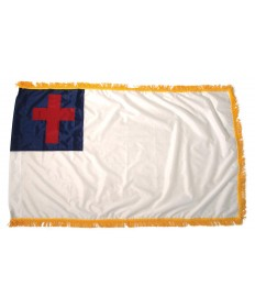 Colonial Nyl-Glo Indoor Fringed Christian Flag