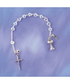 First Communion Rosary Bracelet with Crystal Hearts