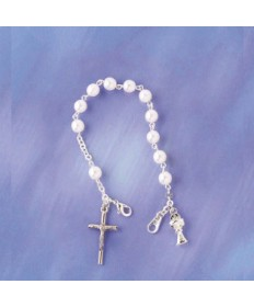 First Communion Rosary Bracelet with Round Pearl Beads