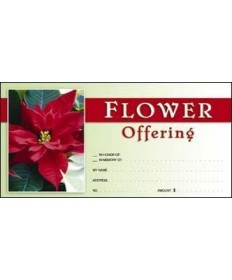Christmas Flower Offering Envelopes - Red/White
