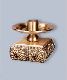 "Regal Altar Candlestick with 1.5"" Socket, 4""H, 5-1/2"" Square Base"