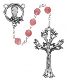 7mm Pink Glass with Dogwood Crucifix Rosary