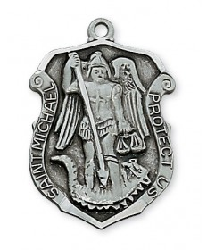 """Pewter St Michael Medal on 24"""" Chain"""