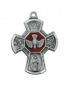 """Pewter Four-Way Medal on 24"""" Chain"""