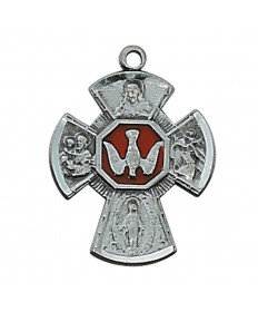 """Pewter Four-Way Medal on 18"""" Chain"""