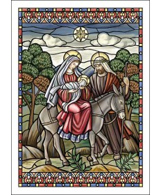"Christmas Cards ""Stained Glass Style Flight Into Egypt"""