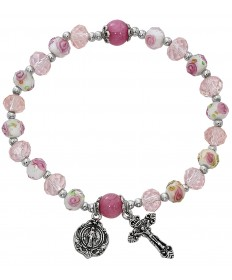 Rosary Stretch Bracelet - Pink Flower