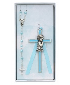 Baby Cross and Rosary Set - Boy