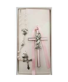 Baby Cross and Rosary Set - Girl