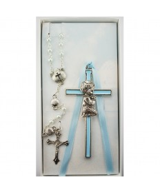 Baby Cross and Shell Rosary Set - Boy
