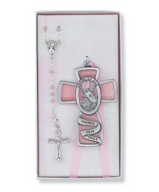 Guardian Angel Baby Cross and Rosary Set - Girl