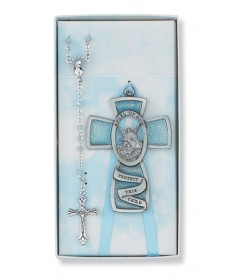 Guardian Angel Baby Cross and Rosary Set - Boy