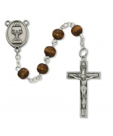 First Communion Boy's Rosary - Brown Wood