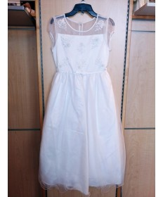 Communion Dress with Beaded Top (Size 14)