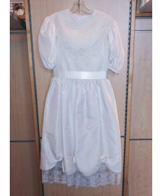 Communion Dress: Satin with Lace (Size 10-12)