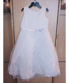 Communion Dress - Sheer over Satin (Size 7)