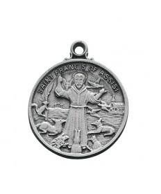 """Pewter St Francis Medal on 24"""" Chain"""