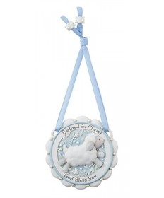 """Baptized in Christ"" Crib Medal - Blue"