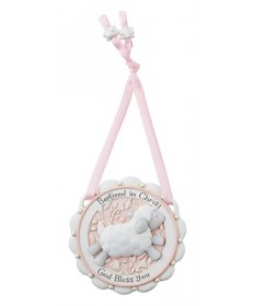 """Baptized in Christ"" Crib Medal - Pink"