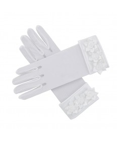 First Communion Gloves Mesh with Rosebuds