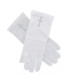 First Communion Gloves Satin with Pearl Cross