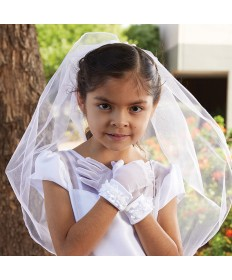 First Communion Veil with Rose HeadBand