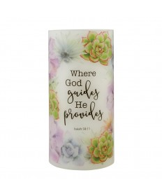 LED Candle - Where God Guides He Provides