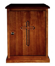 Tabernacle in Wood with Plain Cross Walnut Stain
