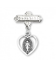 Miraculous Medal Godchild Pin - Sterling Silver