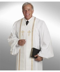 RT Wesley Pulpit Robe H-94M in White by Murphy Robes