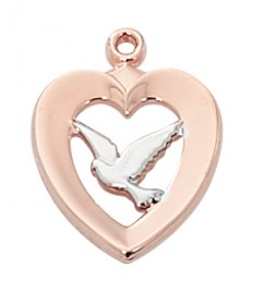 """Rose Gold Pewter Holy Spitrit Pendant on 18"""" Chain"""