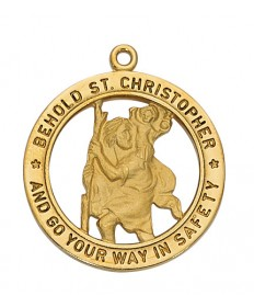 "Gold over Sterling Silver St Christopher Medal on 24"" Chain"