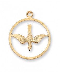 "Gold over Sterling Silver Holy Spirit Pendan on 18"" Chain"
