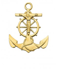 """Gold over Sterling Silver Mariner Cucifix on 24"""" GP Chain"""