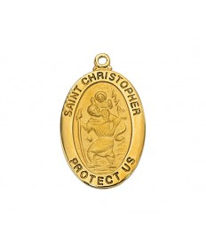 "Gold over Sterling Silver St Christopher Medal on 20"" Chain"