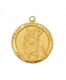"Gold over Sterling Silver St Christopher Medal on 18"" Chain"