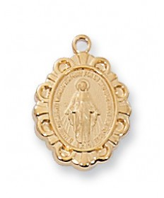 "Gold over Sterling Silver Miraculous Medal on 16"" Chain"