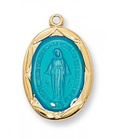 "Gold over Sterling Silver Miraculous Medal with Blue Enamel on 18"" Chain"