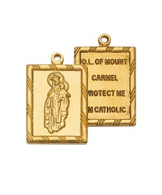 "Gold over Sterling Silver 2-piece Scapular Medal on 18"" Chain"