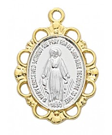 "Gold over Sterling Silver Two-tone Miraculous Medal on 18"" Chain"