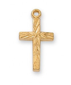 "Gold over Sterling Silver Cross on 16"" Chain"