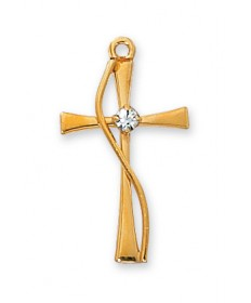 "Gold over Sterling Silver Cross with Crystal Pendant on 18"" Chain"