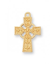 "Gold over Sterling Silver Celtic Cross on 16"" Chain"