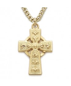 "Gold over Sterling Silver Celtic Cross on 18"" Chain"